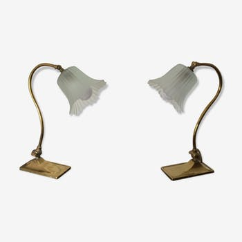 Pair of brass Art Deco lamps