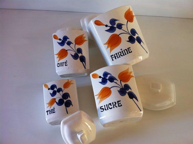 Set of old Givors ceramic spice pots