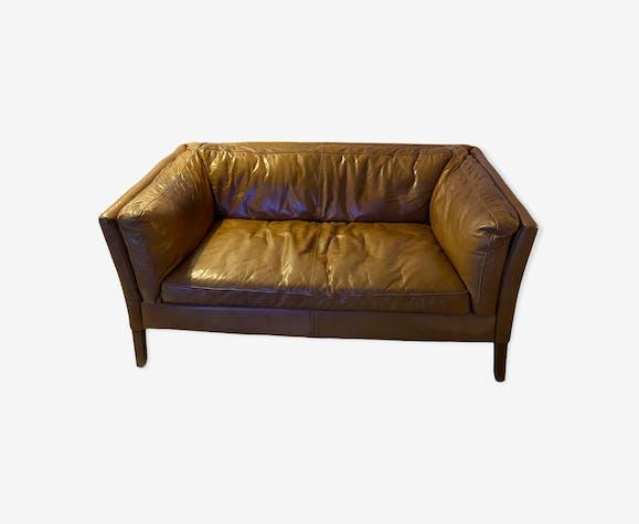Canapé 2 places cuir marron Reggio