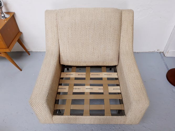 Vintage wool fabric and metal feet armchair