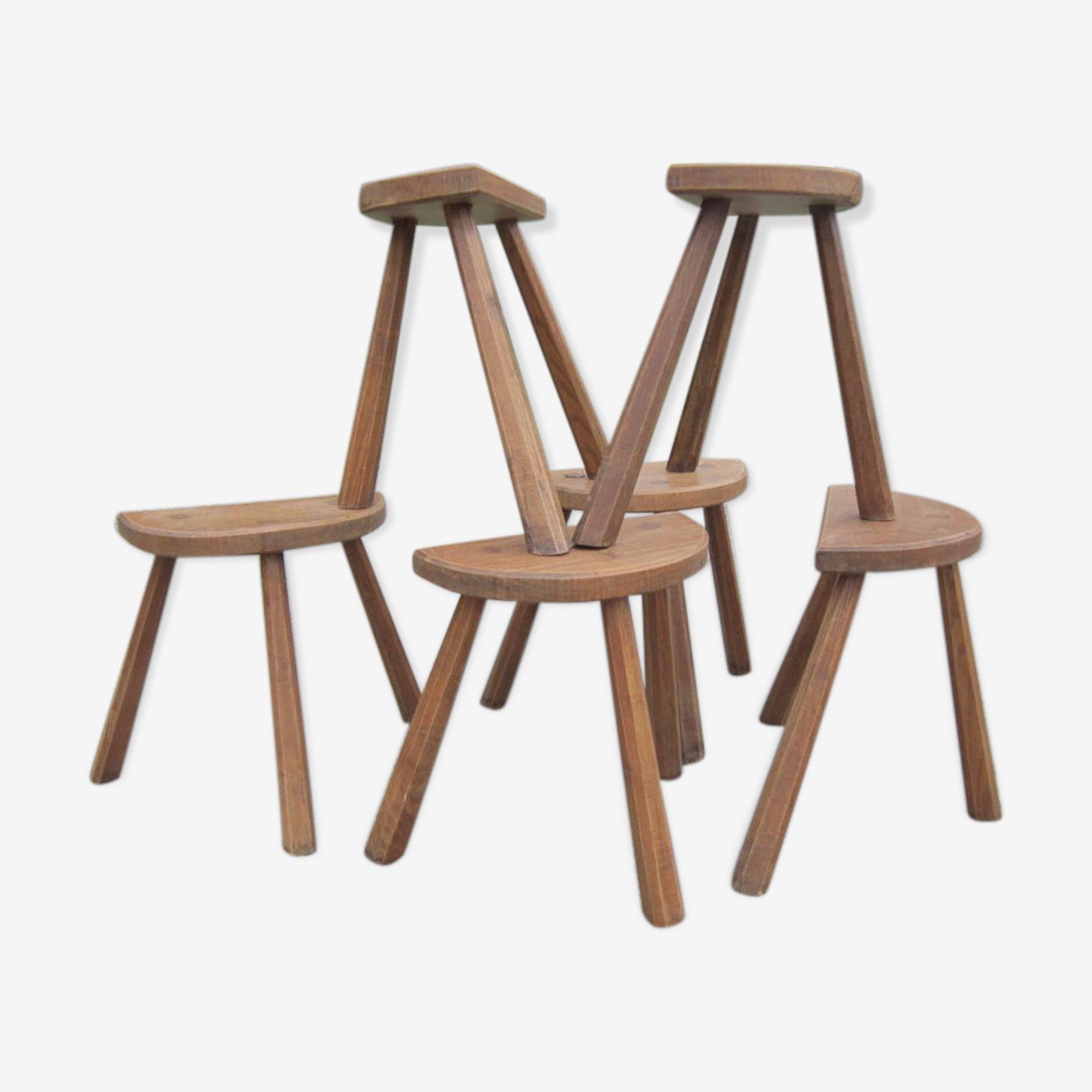 Série de 6 tabourets trépied bois