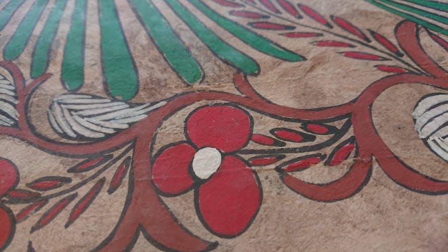 Peinture sur papier d'Amate oiseaux et fleurs