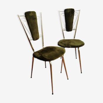 Paire de chaises rétro en fausse fourrure verte et métal doré