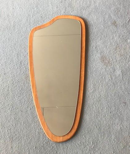 Miroir en teck asymétrique 1950 - 78x36cm