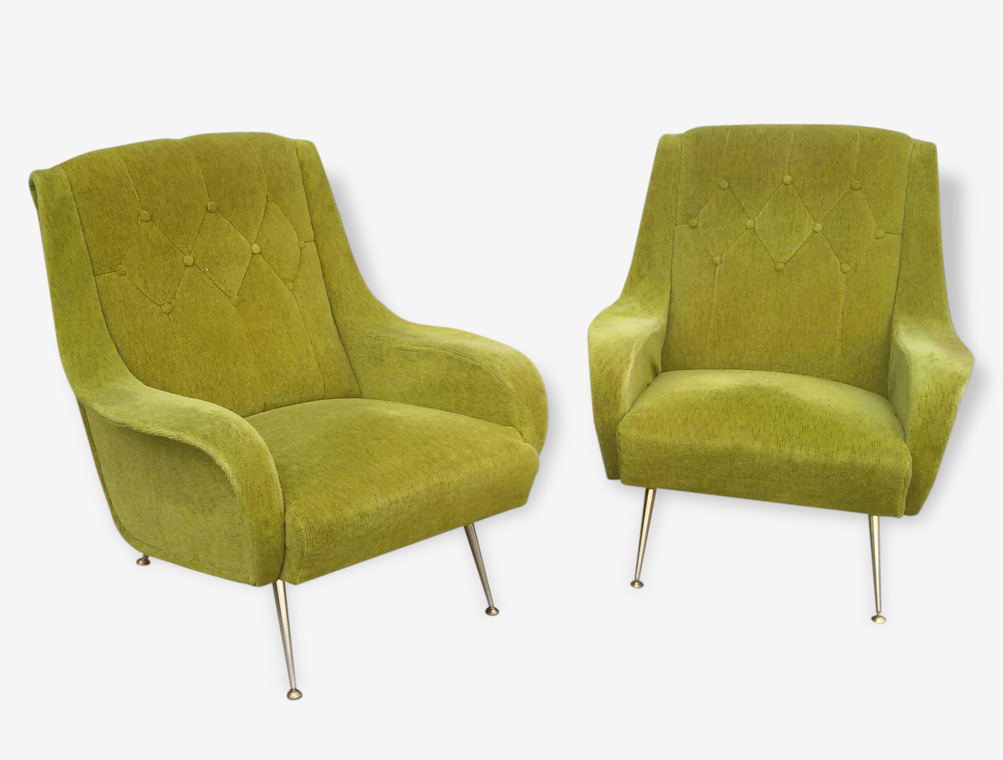 Paire de fauteuil design italien tissu vert design