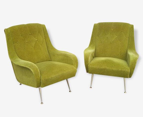 Paire De Fauteuil Design Italien Tissu Vert Design 136191