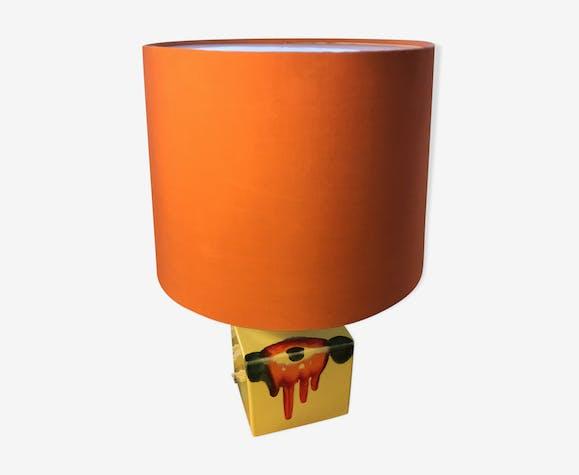 Lampe Rosenthal Studio Linie céramique jaune avec abat-jour orange vintage