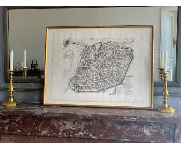 Framed antique map of Avignon