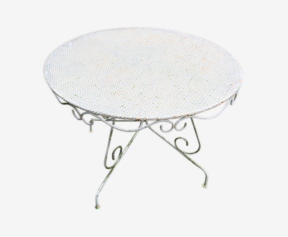 Table de jardin vintage ancienne en fer forgé - fer - blanc ...