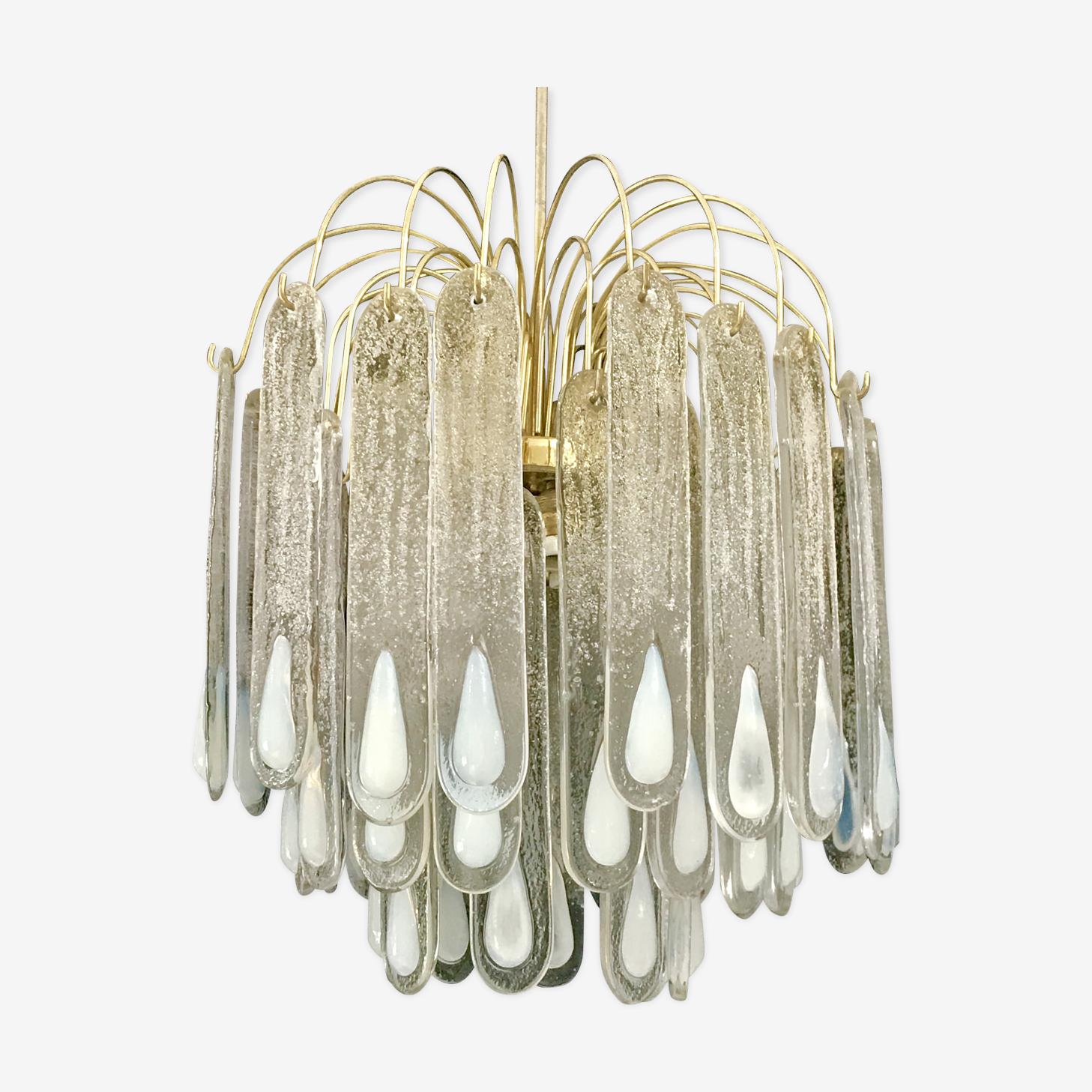 Lustre en verre avec incrustation opaline par Mazzega 1970