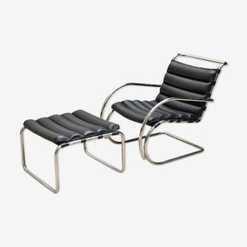 Armchair and footrest by Mies Van Der Rohe for Knoll