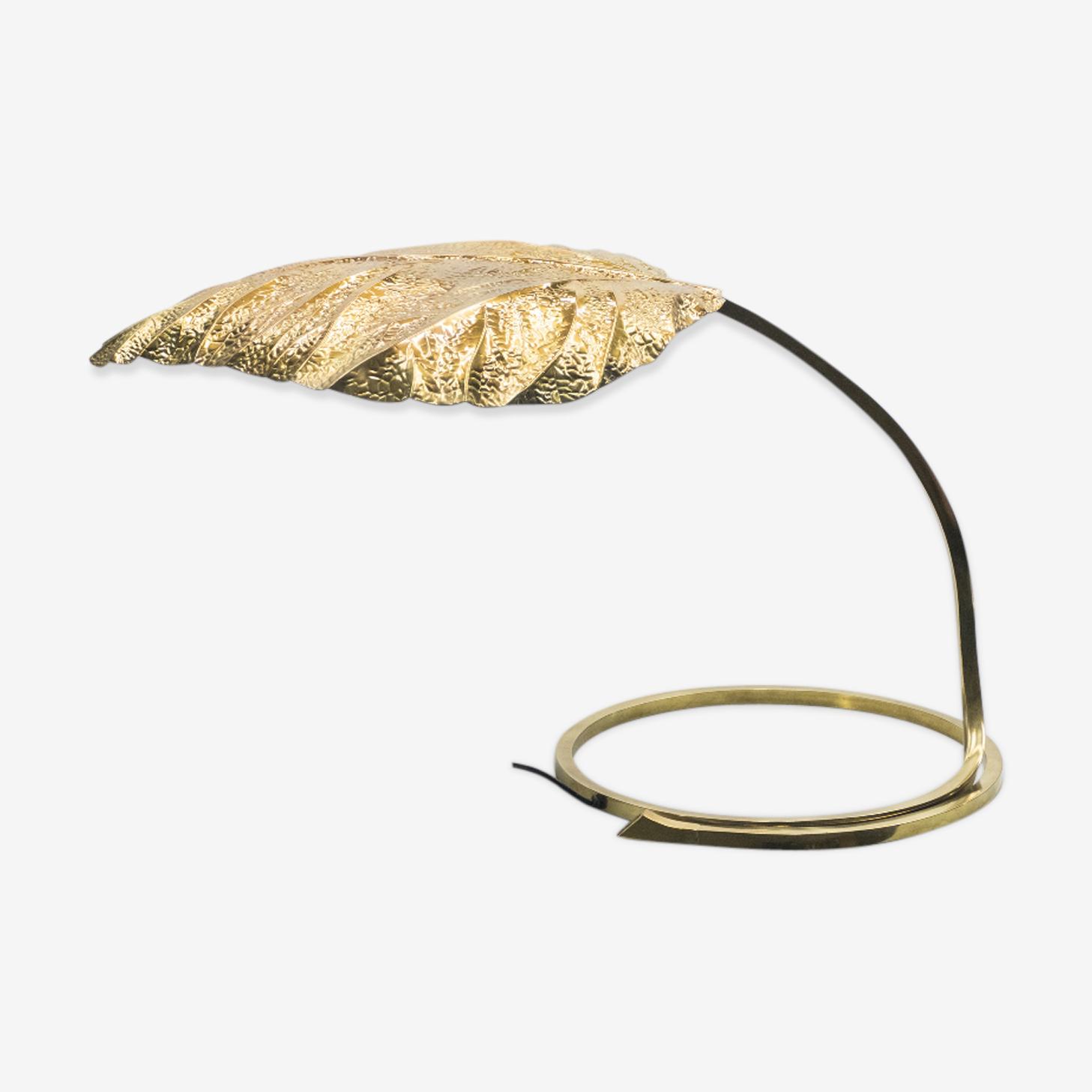 """Lampe feuille italienne """"Rhubarbe"""" en laiton Tommaso Barbi 1970"""