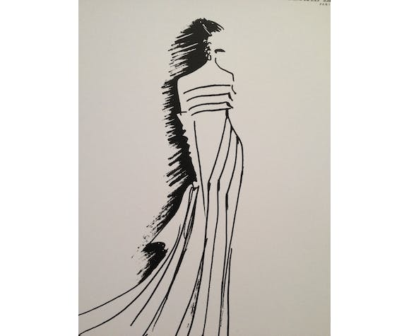 "Illustration vintage de mode ""Pierre Balmain"" signée erick"