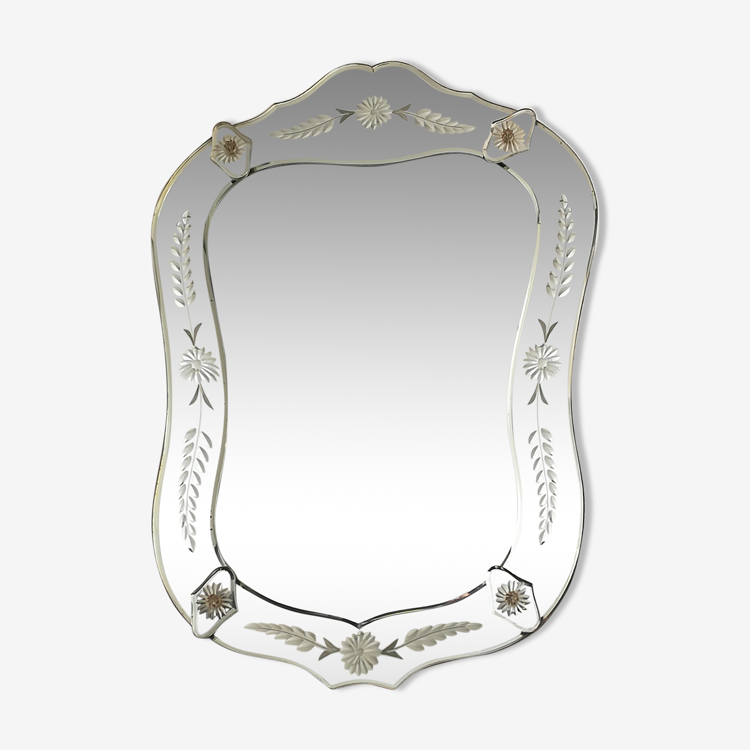 Miroir venitien des années 40 Italie 40x55cm