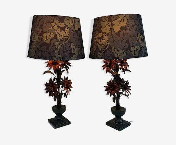 Pair of metal lamps, 1920s