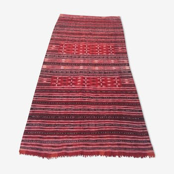 Carpet kilim red and black in pure wool handmade 127 x 213 cm