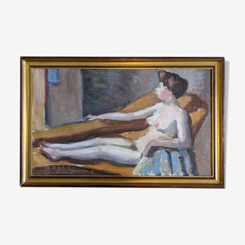 Oil on canvas - 'reclining nude' 1943