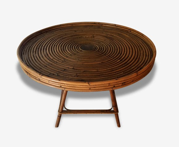 Table basse ronde vintage en rotin bambou osier french for Table ronde en osier