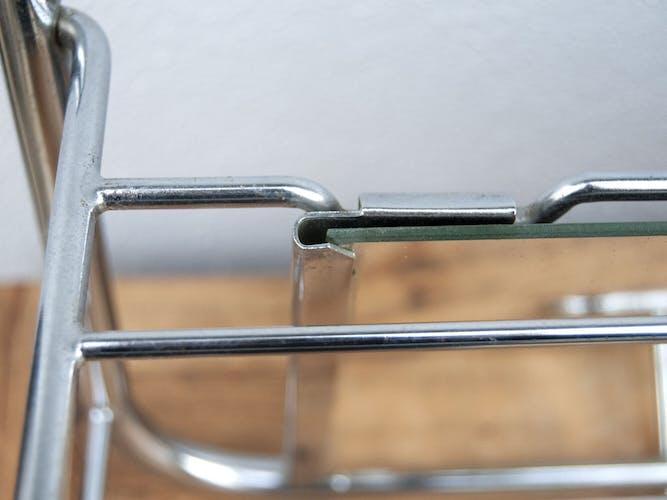 Porte manteau miroir en métal aluminium vintage années 60