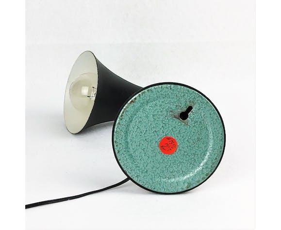 Lampe applique cocotte métal noir et laiton 1950