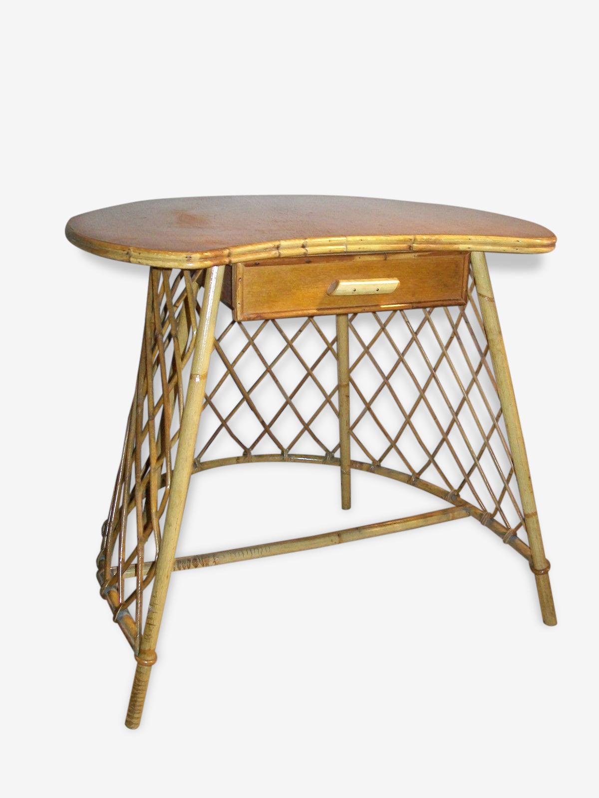 Petite table d'appoint / coiffeuse en osier 1950-60