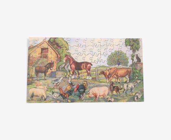 """Puzzle vintage """"Victory""""  représentant une cour de ferme"""