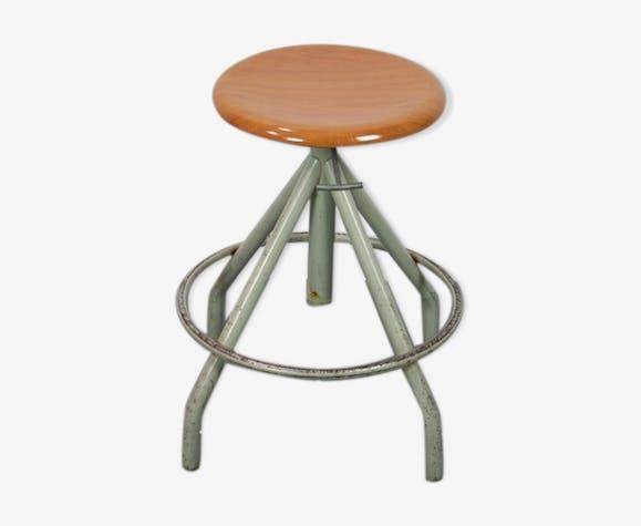 Tabouret siège pivotant design industriel métallique vintage 1950
