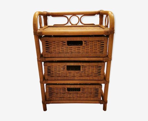 et rotin rotin Table de tiroirs 3 chevet osier bambou et 8myN0Ovnw