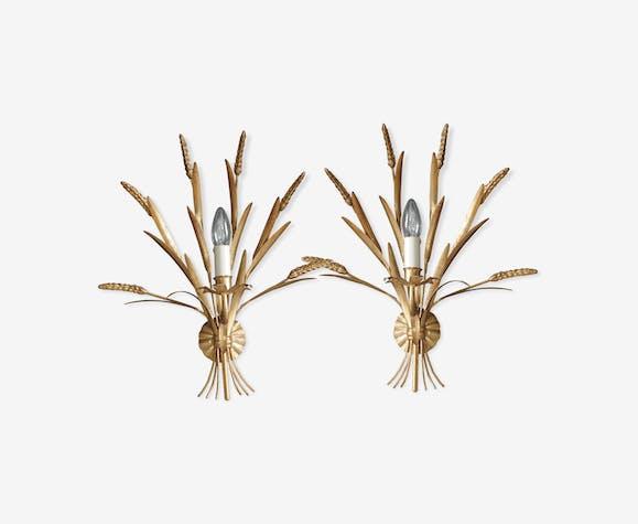 Pair of Mid- Century Brass Wheatsheaf Sconces