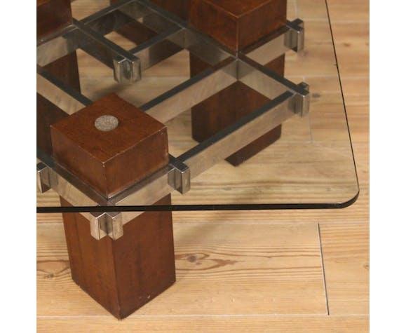 Table basse italienne de conception dans le bois, le métal et le cristal