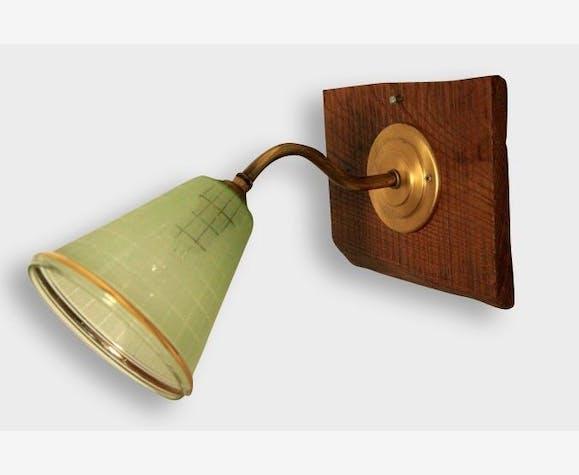 TULIPE, ancienne lampe applique col de cygne - verre et cristal ...