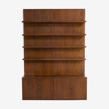 70s dark wood Swiss storage cabinet wall unit set of 2