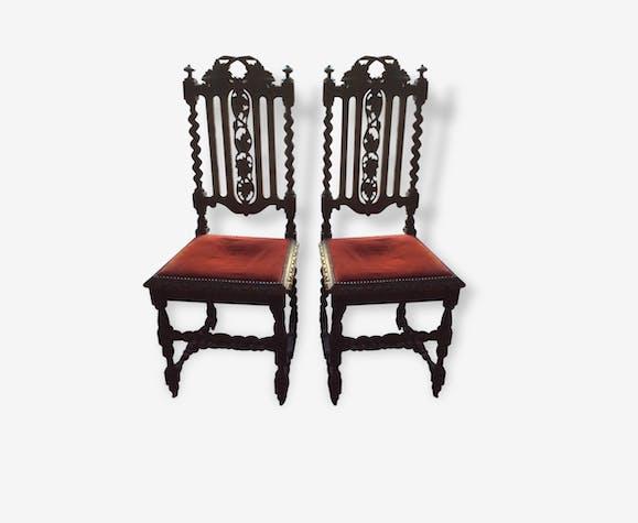 Paire ce chaises anciennes style henri ii bois mat riau rouge classique 118805 - Style chaises anciennes ...
