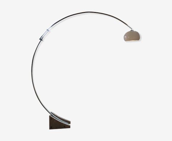 Lampadaire à arc et globe réglables, pied en travertin brut 1970