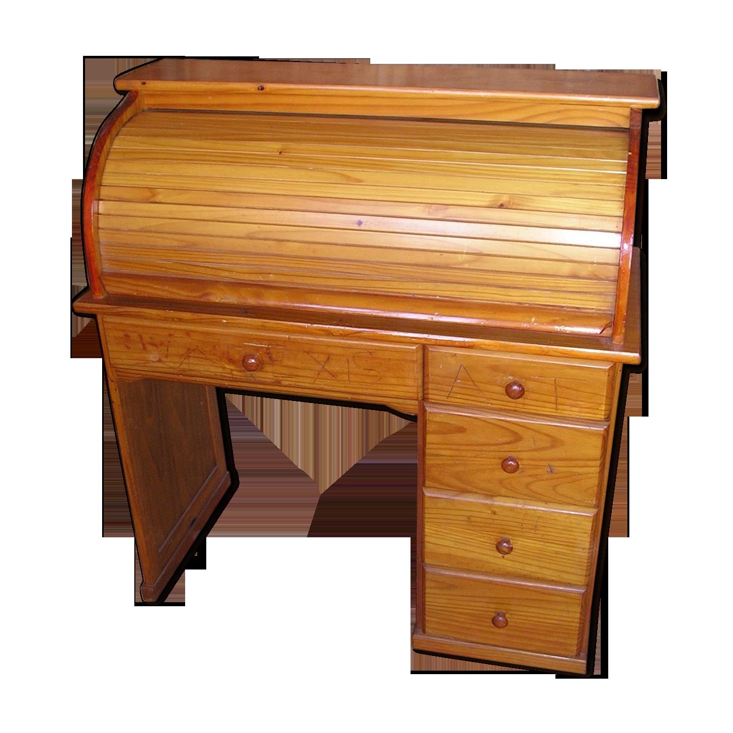 Bureau cylindre en pitchpin années bois matériau bois