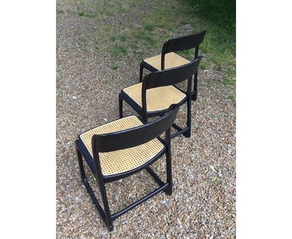 Trio de chaise baumann traîneau en cannage | Selency