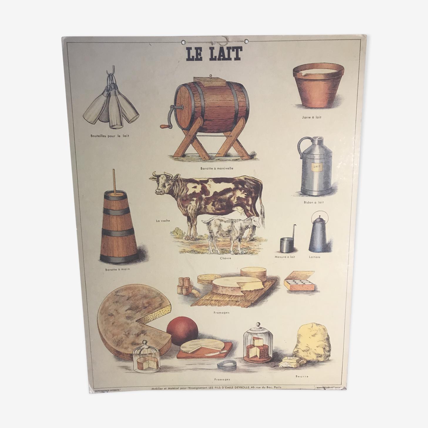 Affiche scolaire par Bernard Carant - le lait