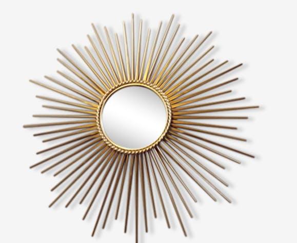 grand miroir soleil vintage fran ais 1950 chaty vallauris miroir sign fer dor art d co. Black Bedroom Furniture Sets. Home Design Ideas