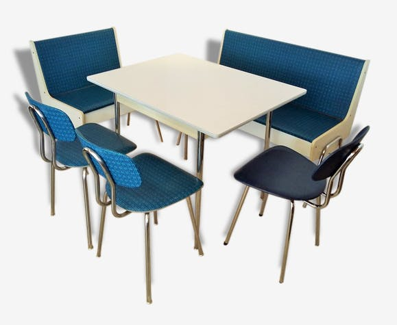 cuisine banquette d 39 angle seventies m tal bleu. Black Bedroom Furniture Sets. Home Design Ideas