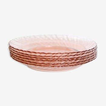 Lot de 6 assiettes creuses en verre rose, Rosaline, Arcoroc