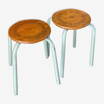 Pair of metal and wood workshop stools