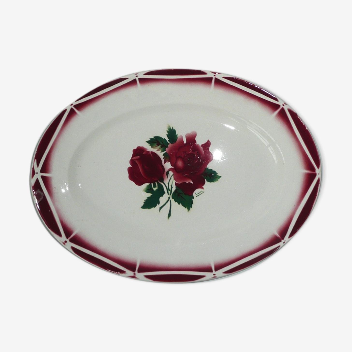 Plat de service ovale Digoin motif roses