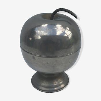 Ancien seau à glace en métal argenté pomme vintage