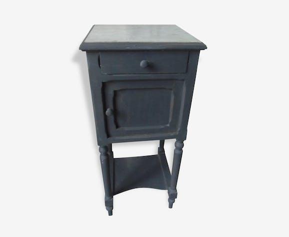 Table de Chevet patinée gris ardoise plateau en marbre - bois ...