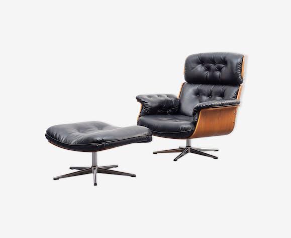Fauteuil lounge années 60, avec repose-pieds