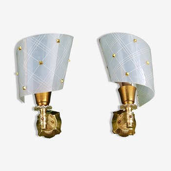 Pair of wall lamps 60's vintage brass and rigid plastic
