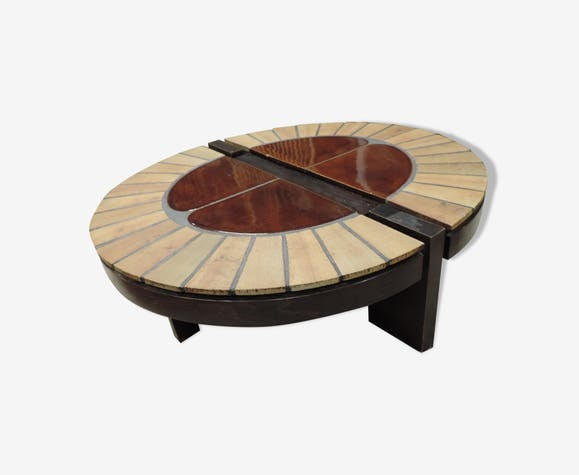 Oval coffee table by Roger Capron 1960