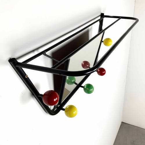 Coat holder with mirror by Roger Ferraud, 1960