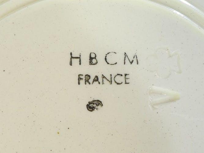 Set de 6 assiettes en faience de Creil et Montereau hbcm modèle Roger