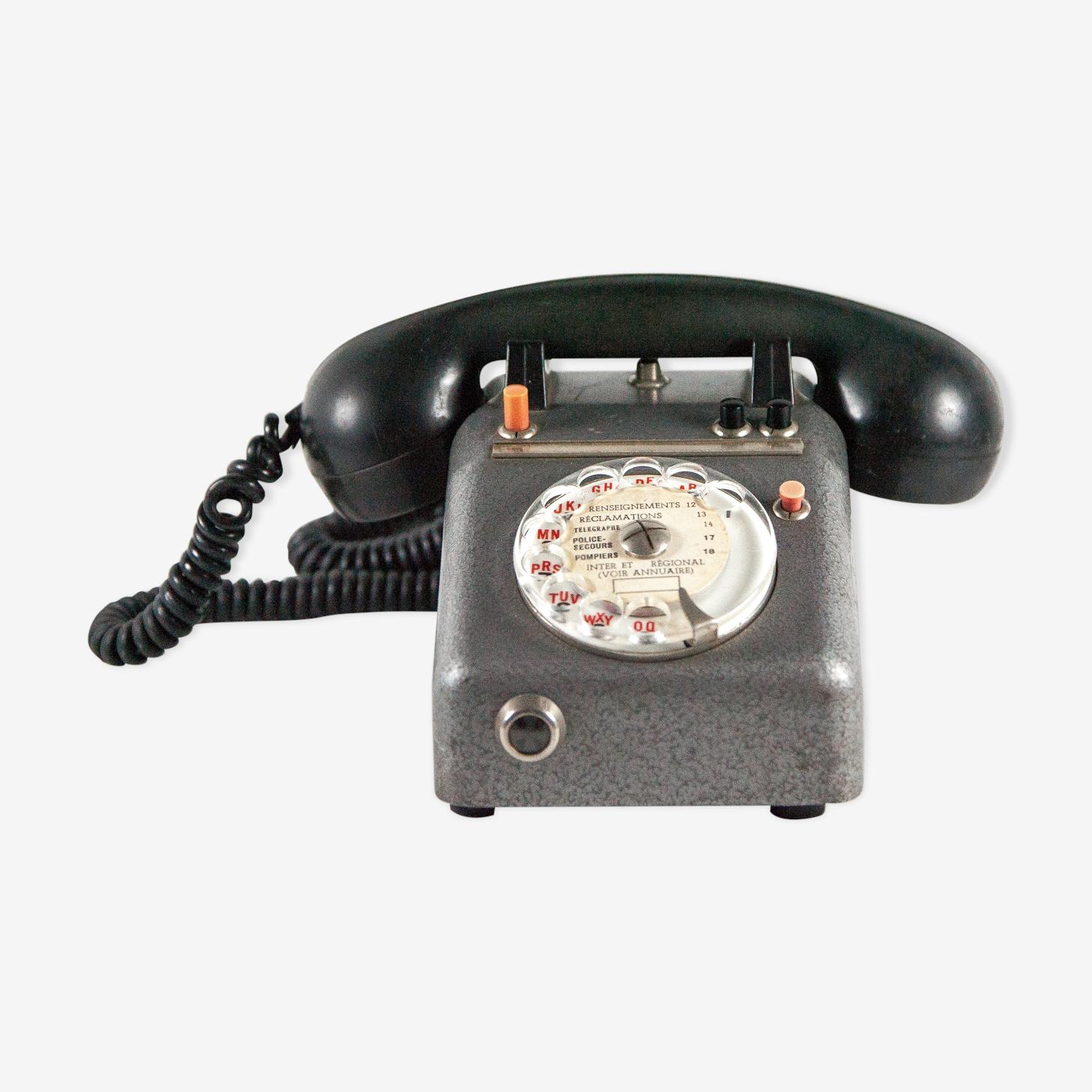 Téléphone vintage métal et combiné en bakélite Sepco Paris
